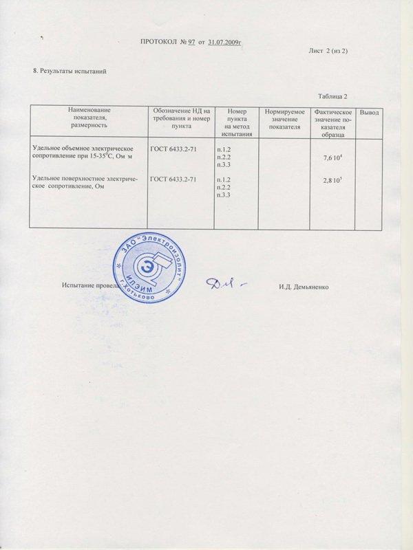 Определение удельного объемного и удельного поверхностного электрических сопротивлений «Элакор-Эластобетон»