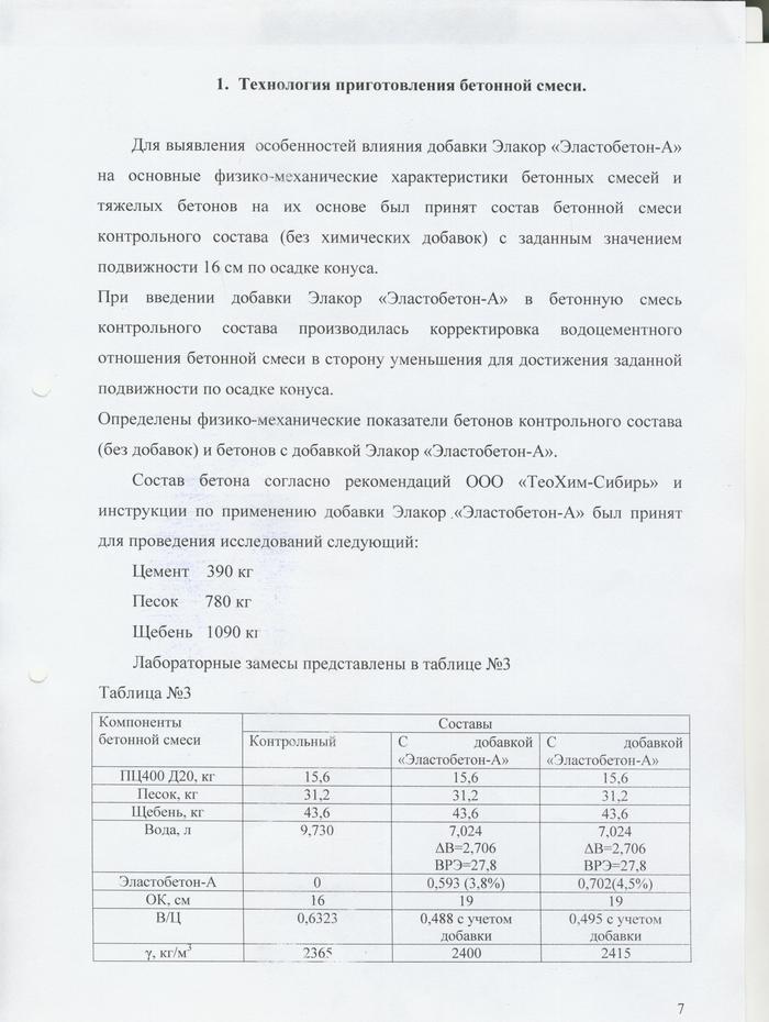 Исследование влияния «Эластобетона-А» на свойства бетона